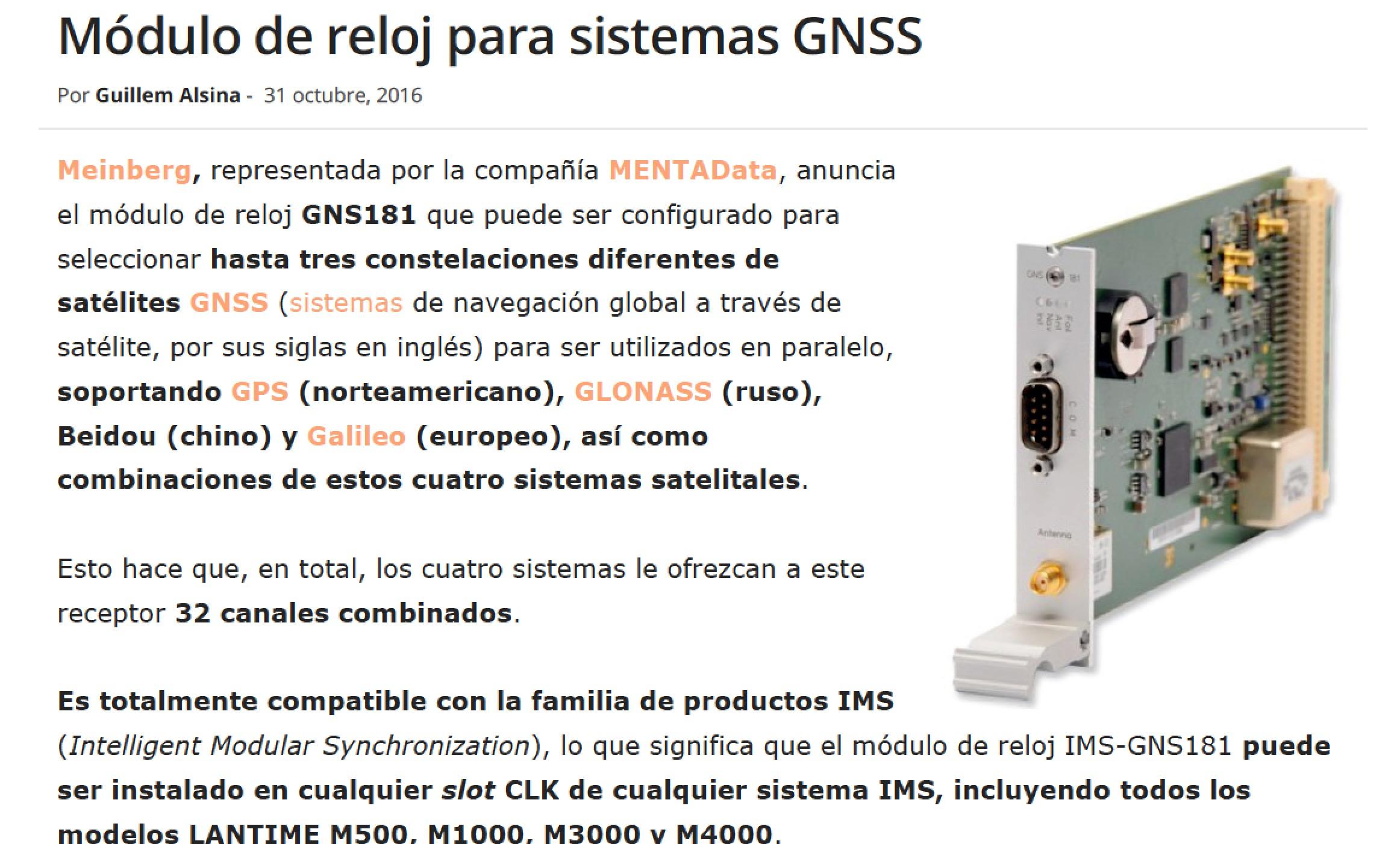 Módulo de reloj para sistemas GNSS - Meinberg - MENTAData